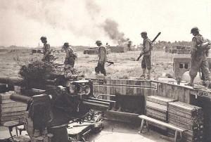 Batterie d'artillerie allemande conquise