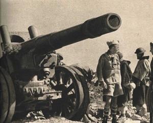 Canon russe de 155mm abandonné par les Allemands au col de Teghime