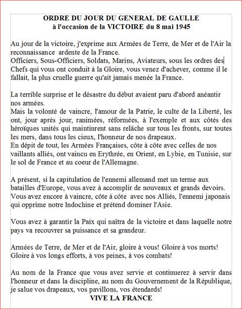 Ordre du jour du général de Gaulle
